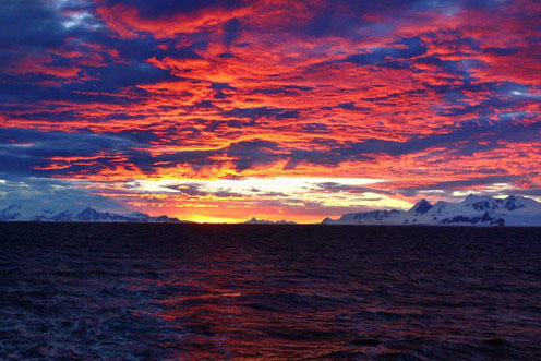 Beautiful Sunset Sky in Antarctica