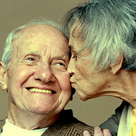 Old Woman Kissing Old Man