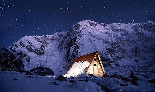 Hut at Night in Elbrus