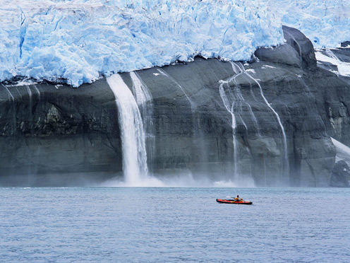 Kayaker and Hanging Glacier, Icy Bay, Alaska