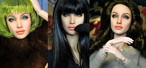 Angelina Jolie Doll in Different Wigs