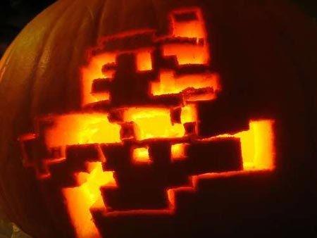 Running Mario Pumpkin Pattern for Halloween