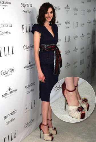 Anne Hathaway in YSL Shoes