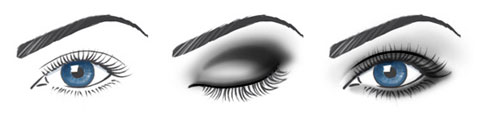 Example of smoky eye makeup: use golden and brown shades instead of grey.