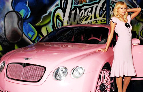 Paris Hilton Next to Her New Pink Bentley