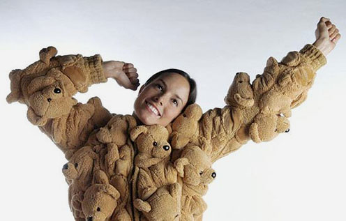 Woman Wearing Teddy Bear Jacket
