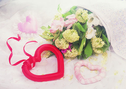 Flowers and Hearts for Valentine's Day