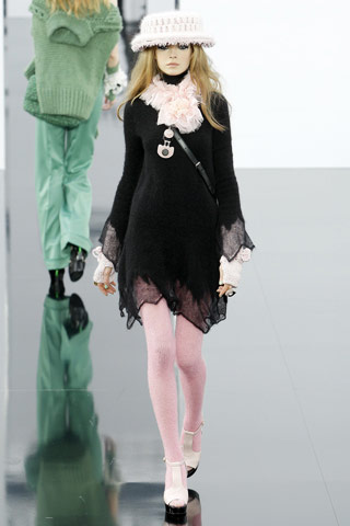 Chanel Black Dress with Pink Collar