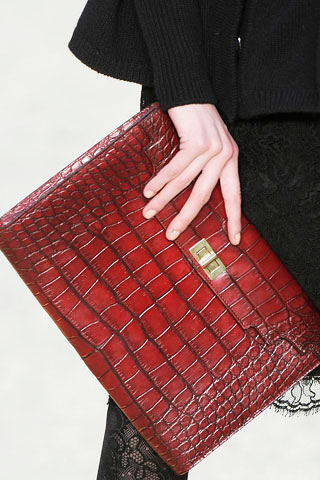 Christian Lacroix Red Crocodile Clutch