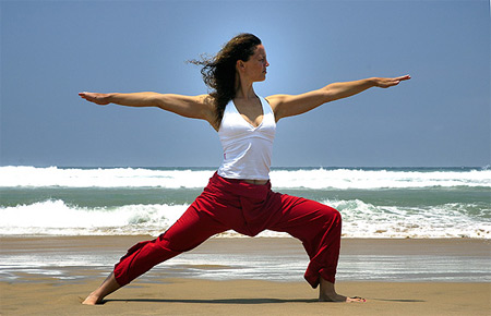 Female Yoga Warrior Pose