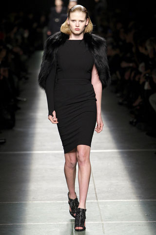 Givenchy Black Pencil Dress with Fur