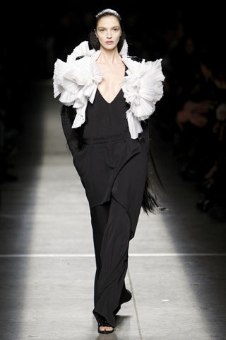 Givenchy Black Suit with White Ruffles