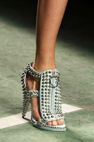 Givenchy Light Blue Heel Strap Sandals with Studs