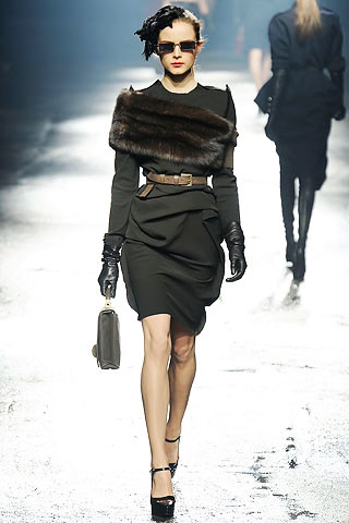 Lanvin Black Dress with Fur