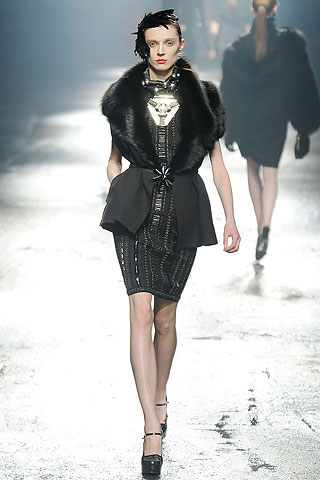 Lanvin Black Jacket with Fur Collar