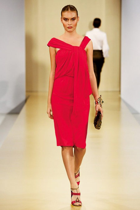 Escada Asymmetric Fuchsia Dress