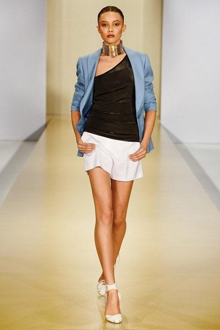 Escada Blue Jacket and White Mini Skirt