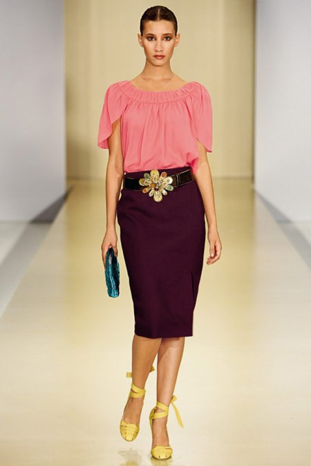 Escada Pink Blouse and Purple Pencil Skirt