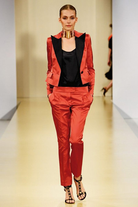 Escada Red and Black Suit