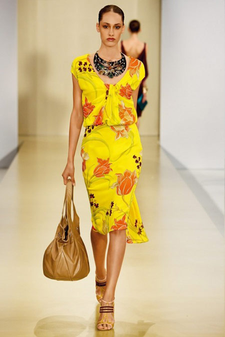 Escada Yellow Floral Dress