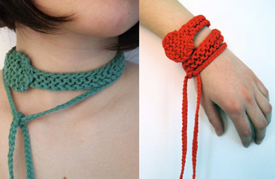 Knitted Necklace and Bracelet