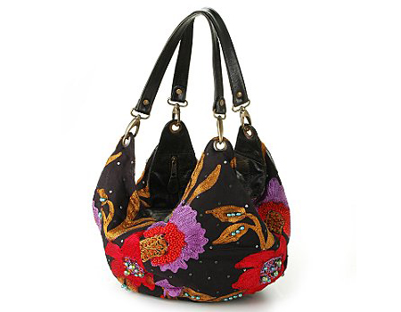 Mary Frances Black Bag with Purple and Red Decor
