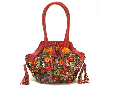 Mary Frances Flower Bag with Red Skin Details