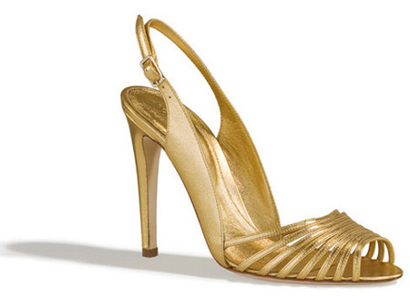 Sergio Rossi Golden High Heel Sandals