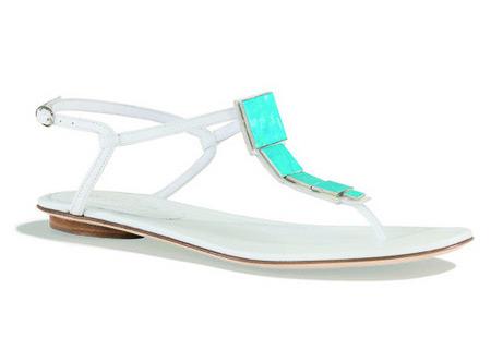 Sergio Rossi White Flat Sandals