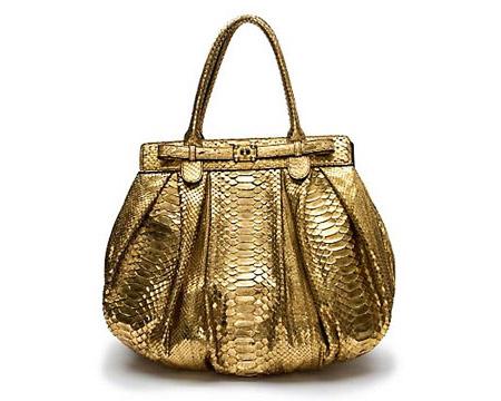 Zagliani Metallic Python Handbag