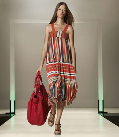 Benetton Colorful Dress and Red Bag