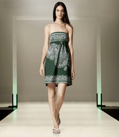 Benetton Green Strapless Dress