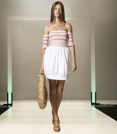 Benetton White and Pink Dress