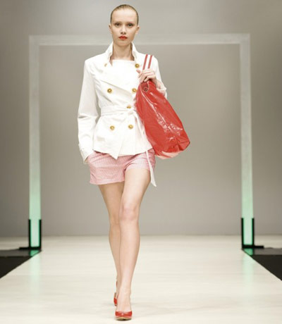Benetton White Jacket and Pink Shorts