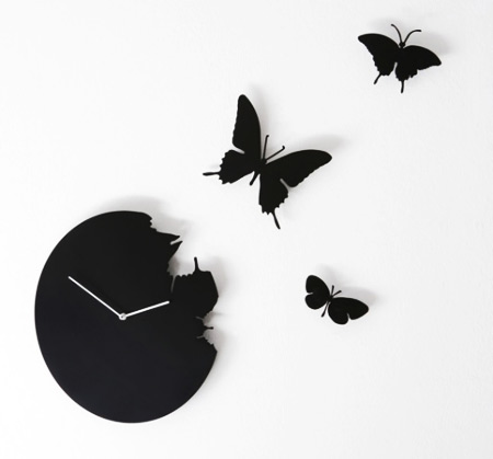 Black Butterfly Clock