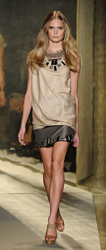 Donna Karan Crystal Studded Top and Skirt