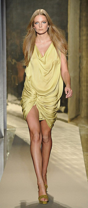 Donna Karan Yellow Drapped Dress
