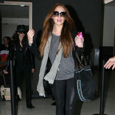 Lindsay Lohan at Los Angeles International Airport