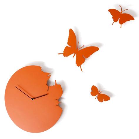 Orange Butterfly Clock