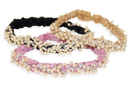 Pearl & Crystal Cluster Silk Braided Headwrap