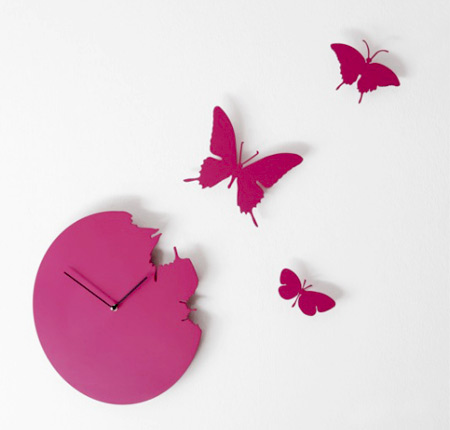 Pink Butterfly Clock