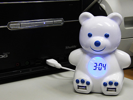 USB Bear 4 Port Hub and Alarm Clock
