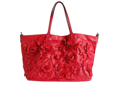 Valentino Red Handbag with Flowers
