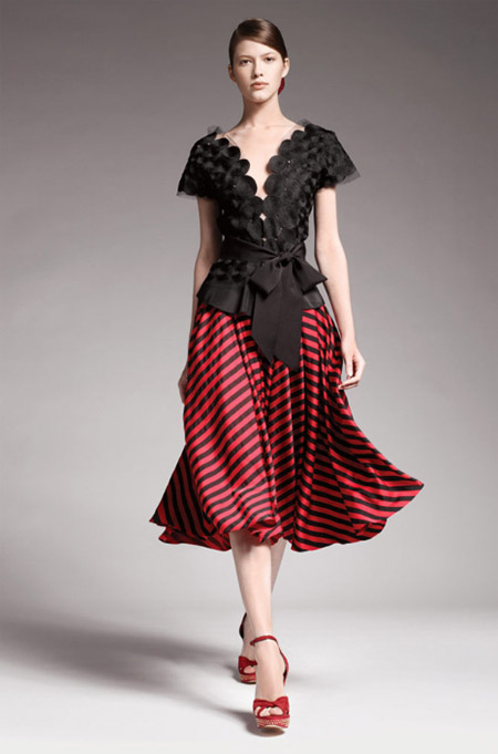 Donna Karan Black and Bright Scarlett Skirt