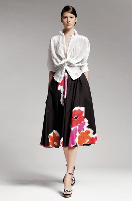 Donna Karan Floral Print Skirt