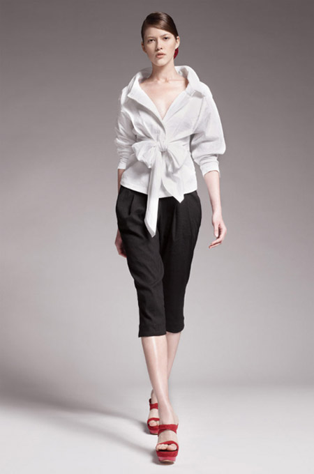 Donna Karan Twist Tie White Jacket