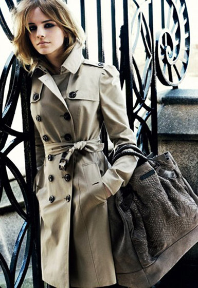 Emma Watson Wearing Burberry Trench Coat