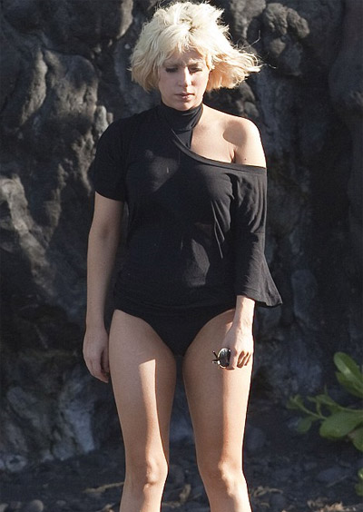 Lady Gaga Dressed Normal. Lady Gaga on the Beach