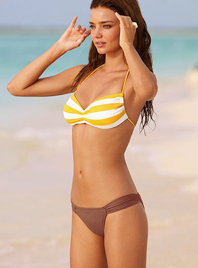 Miranda Kerr in Yellow and White Bikini