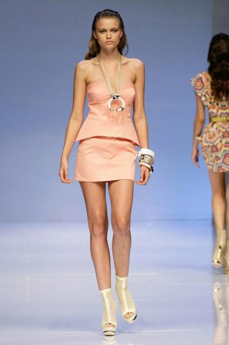 Pucci Peach Corset and Mini-Skirt